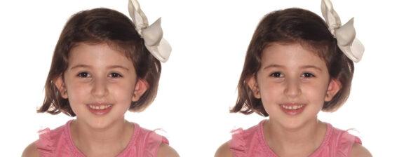 Dos fotografías de niña tamaño medio